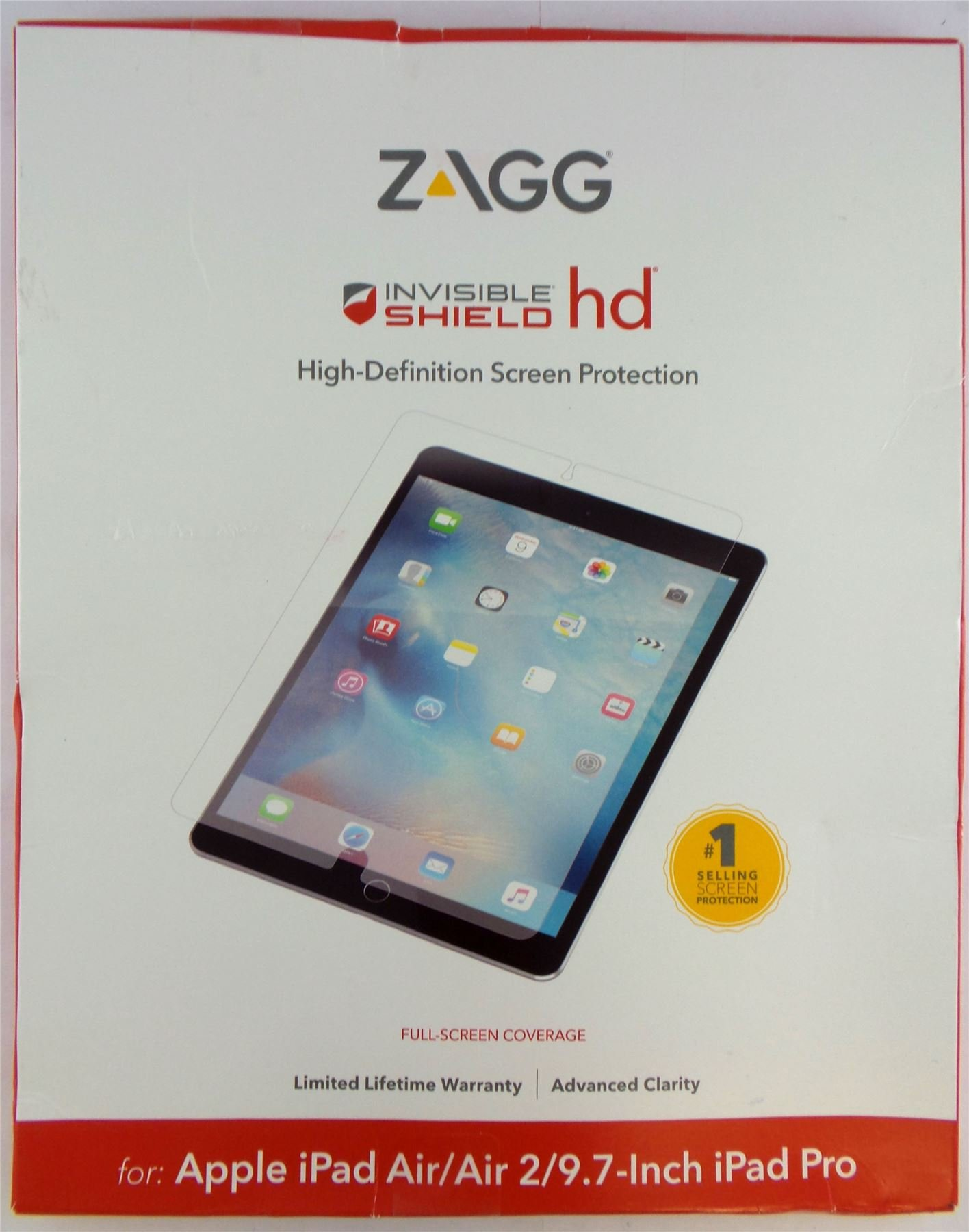 Zagg InvisibleShield HD Screen Protector for Apple iPad Pro 9.7'', Air & Air 2