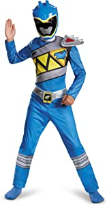 Power Rangers Costume For Boys Blue Dino Charge Kids Beast Morphers Ninja Dinosaur Blue Ranger For Kids Medium 7-8