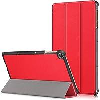 USTIYA Funda para Huawei Matepad T10s Case 10.1 Pulgadas Cuero Protectora PC+PU Función de Despertador (Rojo)