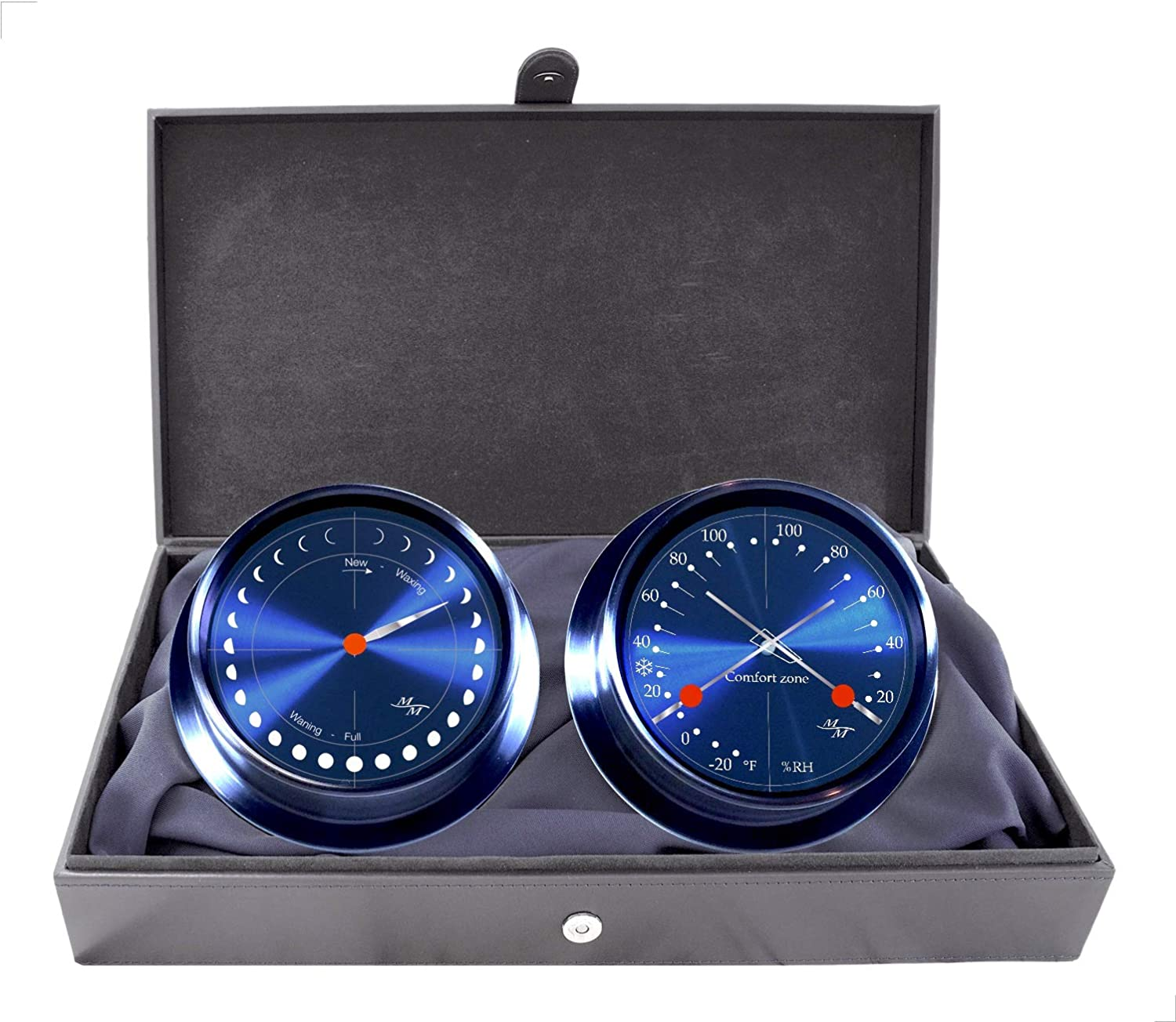 """Master-Mariner Eclipse Collection, 5.75"""" Diameter Astronomical Moon Phase Clock and Comfort Meter Instruments, Graphite Steel Finish, Cobalt Blue dial"""