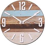 NIKKY HOME Stripe orologio da parete in legno analogico rotondo decorativo, Burlywood