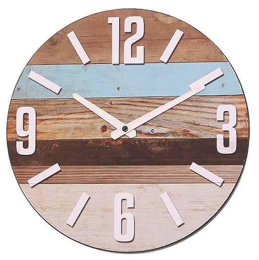 6 opinioni per NIKKY HOME Stripe orologio da parete in legno analogico rotondo decorativo,