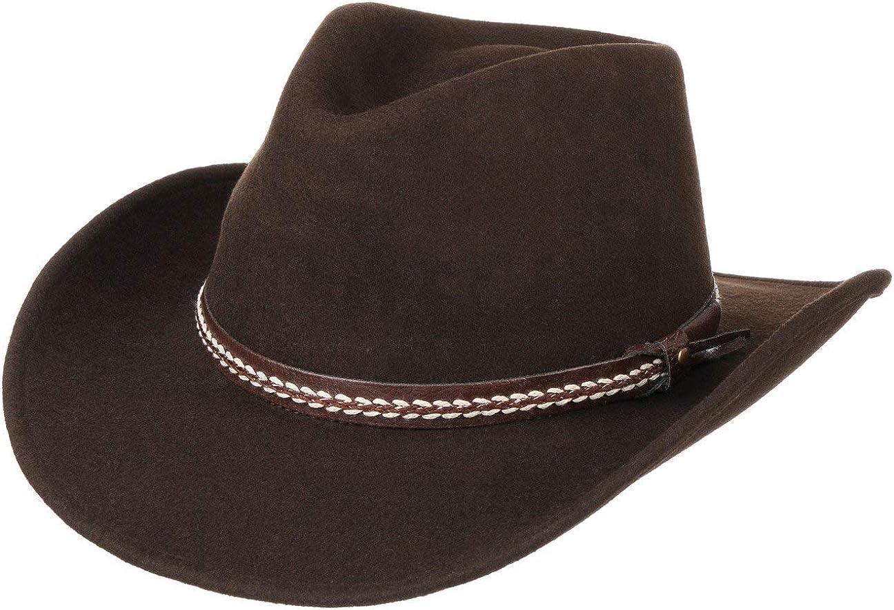 en Laine de Cowboy Feutre avec Bandeau Cuir Printemps-ete Stetson Chapeau Hackberry Western Homme