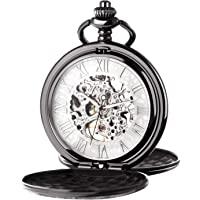 Reloj de bolsillo unisex Treeweto con cadena mecánica con bisagras dobles y números romanos.