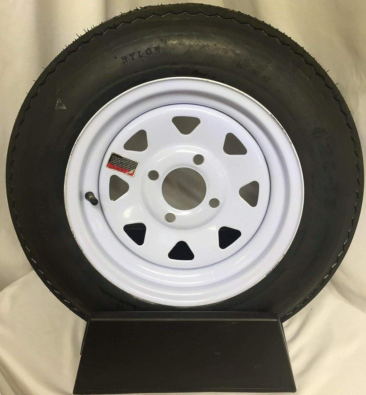 Trailer Tire On Rim 4.80-12 480 12 Load B 4 on 4 White Spoke Wheel
