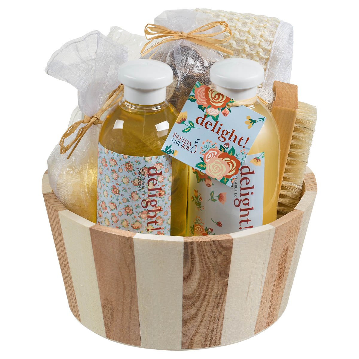 Bath, Body, and Spa Gift Set Basket with Reflexology Kit for Women, in Floral Delight Fragrance, Complete Relaxation and Skincare Essentials with Shea Butter and Vitamin E to Nourish Skin