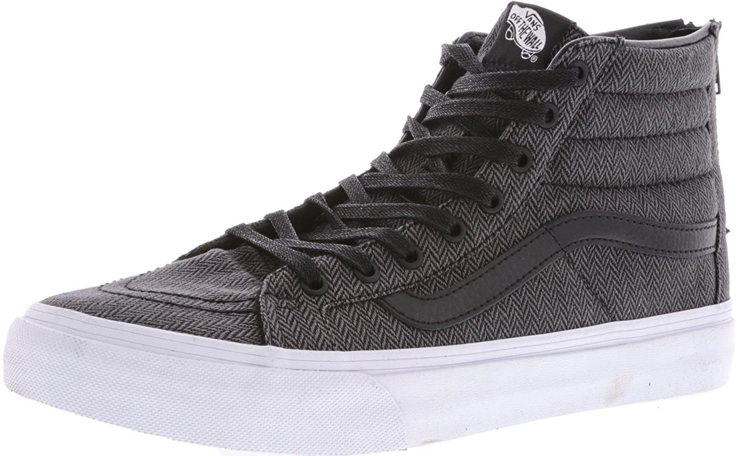 Amazon.com | Vans Sk8-Hi Slim Zip Herringbone Tweed Black/Leather High-Top  Skateboarding Shoe - 10M 8.5M | Skateboarding