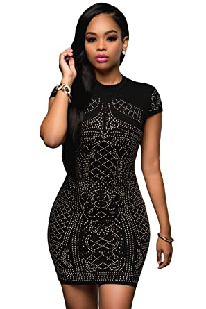 ab5ff33efc0d1 Amazon.com  EZON-CH Women s Black Gold Studded Short Sleeves Dress ...
