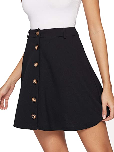 2998ff1ac SheIn Women's Basic Button Up Flared A-Line Skater Mini Skirt X-Small Black