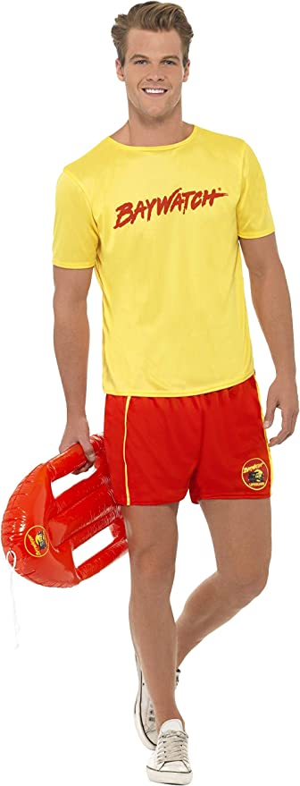 80s Costumes, Outfit Ideas- Girls and Guys Smiffys Officially Licensed Baywatch Mens Beach Costume £21.17 AT vintagedancer.com