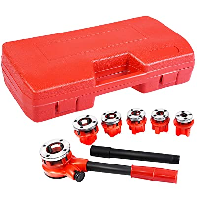 "Goplus Ratchet Pipe Threader Kit, Ratcheting Pipe Threading Tool Set w/ 6 Dies- 1/4"", 3/8"", 1/2"", 3/4"", 1"", 1-1/4"" and Storage Case"