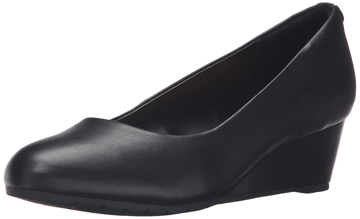 CLARKS Women's Vendra Bloom Wedge Pump B0195EECVO 8 W US|Black Leather