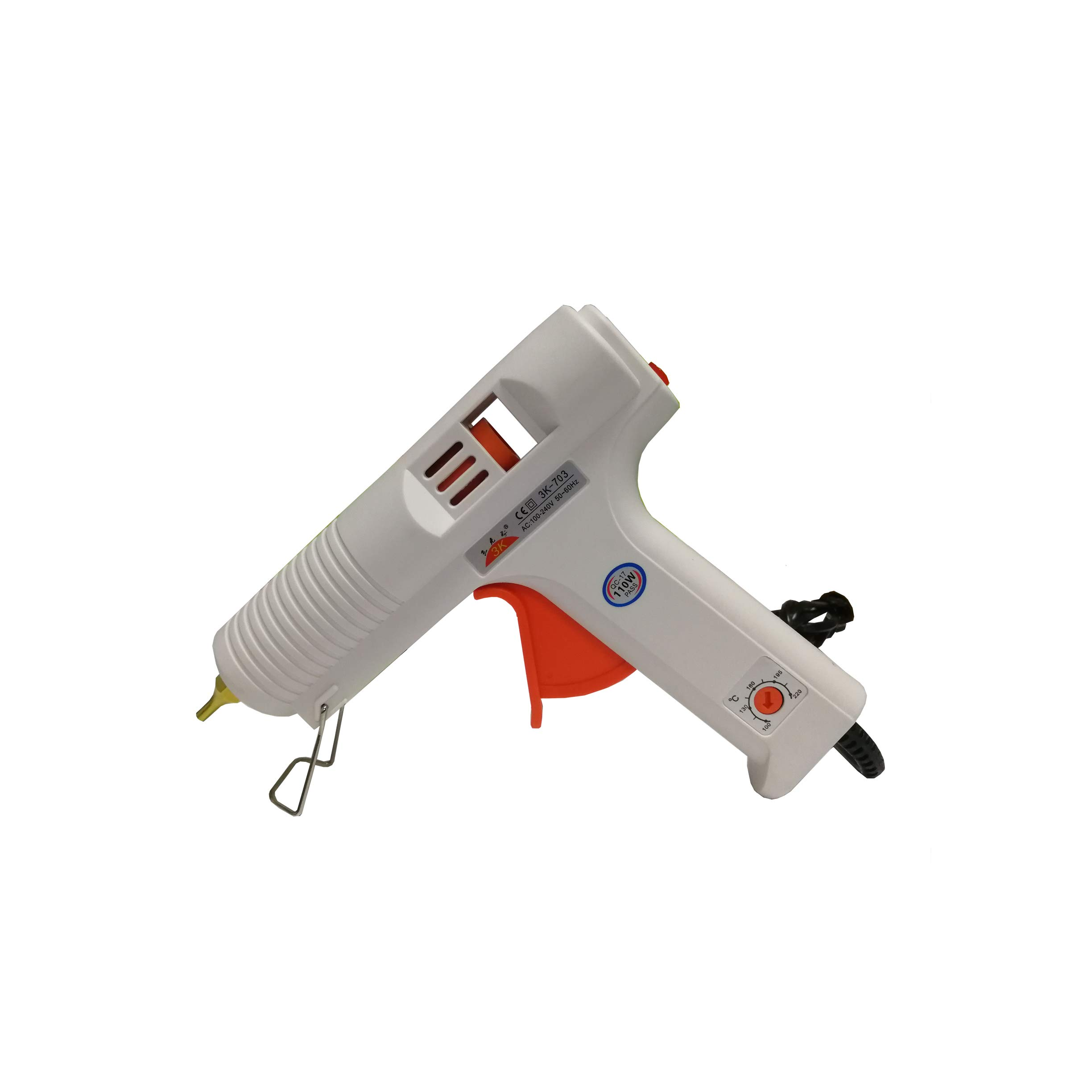 Hot Melt Glue Gun for DIY Arts Crafts Projects and Small Repair Jobs Temp Adjustable 100 Watt AC110-240V White