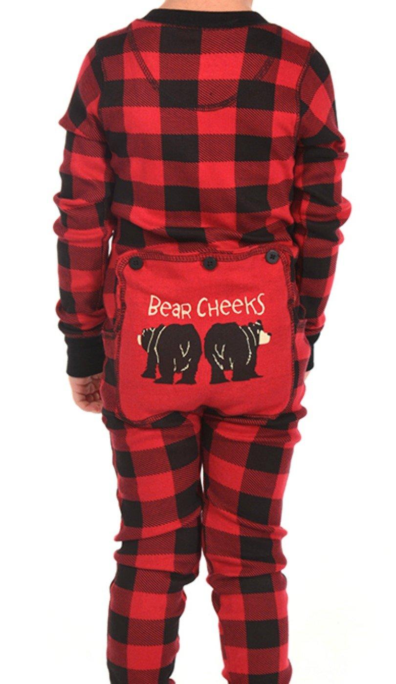 Plaid Bear Cheeks Flapjacks Kids Flapjack Onsie by LazyOne   Adult Kid Infant Dog Family Matching Pajamas