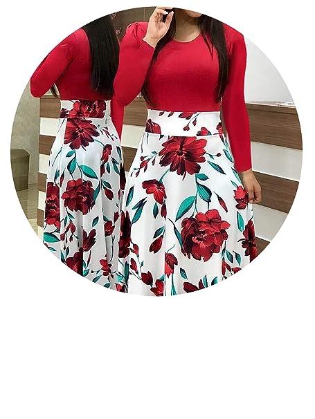 57befe2b5ec2f Women Multicolor Flower Floral Print Long Short Dress Summer Mixed ...
