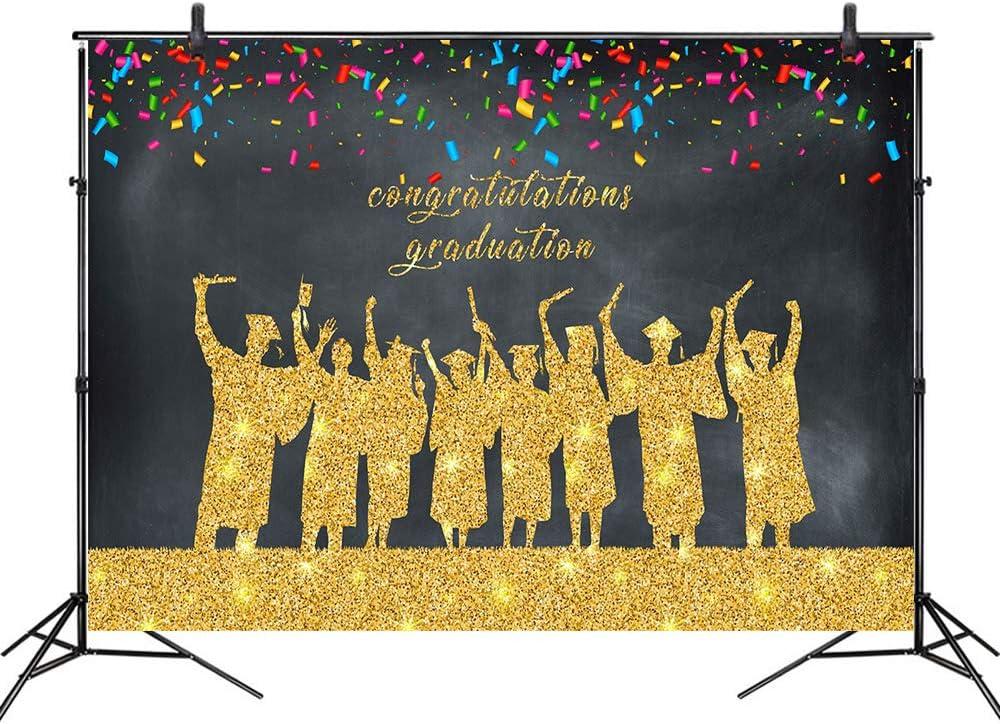 LB 10x8ft Graduation Backdrop 2020 Gold Glitter Graduates Photography Backdrops Class of 2020 Congrats Grad Background for School Senior Prom Party Ceremony Photo Booth Studio Props