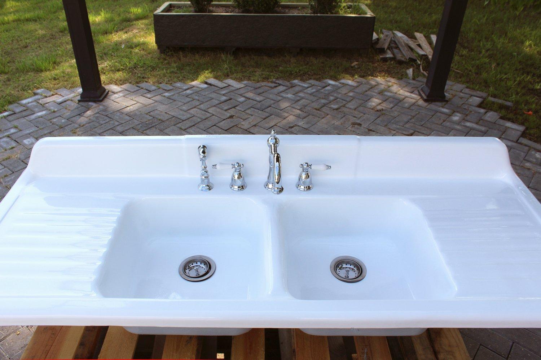 """Amazon.com: Large 66"""" Refinished 1950 Farm Sink Cast Iron Double ..."""