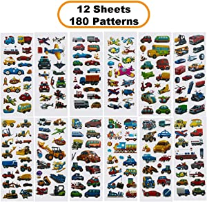Creammuffin Stickers Party Supplies Kits for Toddlers, Children 3D Puffy Stickers - Over 180 Stickers (Car & Truck)