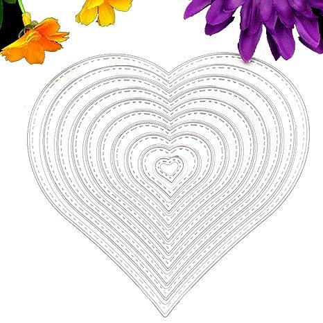 Espeedy Hilo de Coser Troquelado,Molde de la tarjeta,10 Unids / set Corazón
