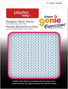 Playtex Baby Diaper Genie Expressions Designer Fabric Sleeve Blue Knit