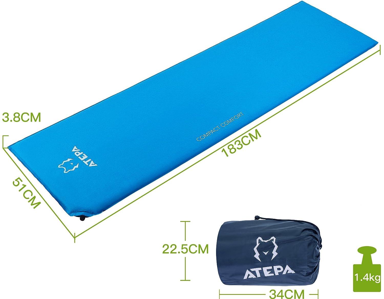 Beim Camping Wandern /& Festivals ATEPA Compact Selbstaufblasende Campingmatte Komfortabel und Leicht Isomatte f/ür zu Hause