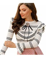 Chicwish Women's Black and White Contrast Stripe Ruffle Bell Sleeves Knit Top