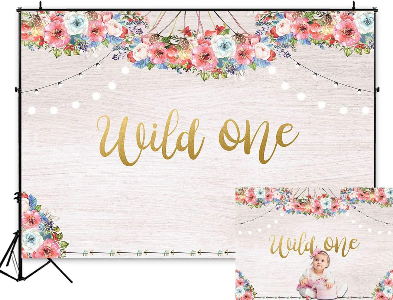 Art Studio 5x3ft Boho Theme Floral Backdrop Wild One Girl Princess 1st Birthday Party Decoration Photo Background Bohemian Trible Wooden Wall Baby Shower PhotoBooth Banner Studio Props Vinyl