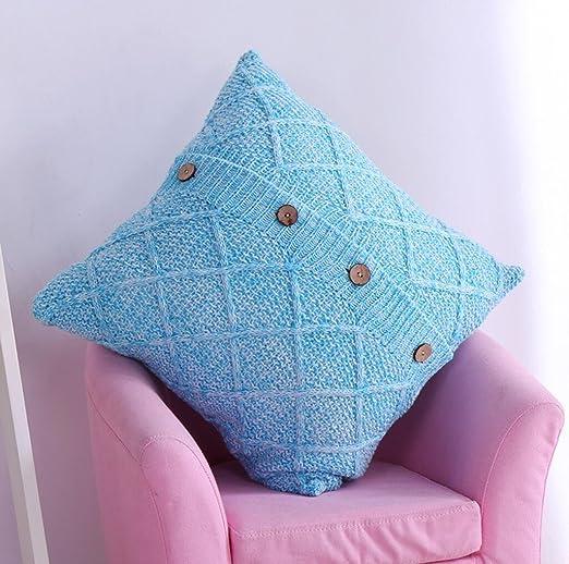 Funda de almohadilla de cojín de tejer 45 * 45cm , blue ...