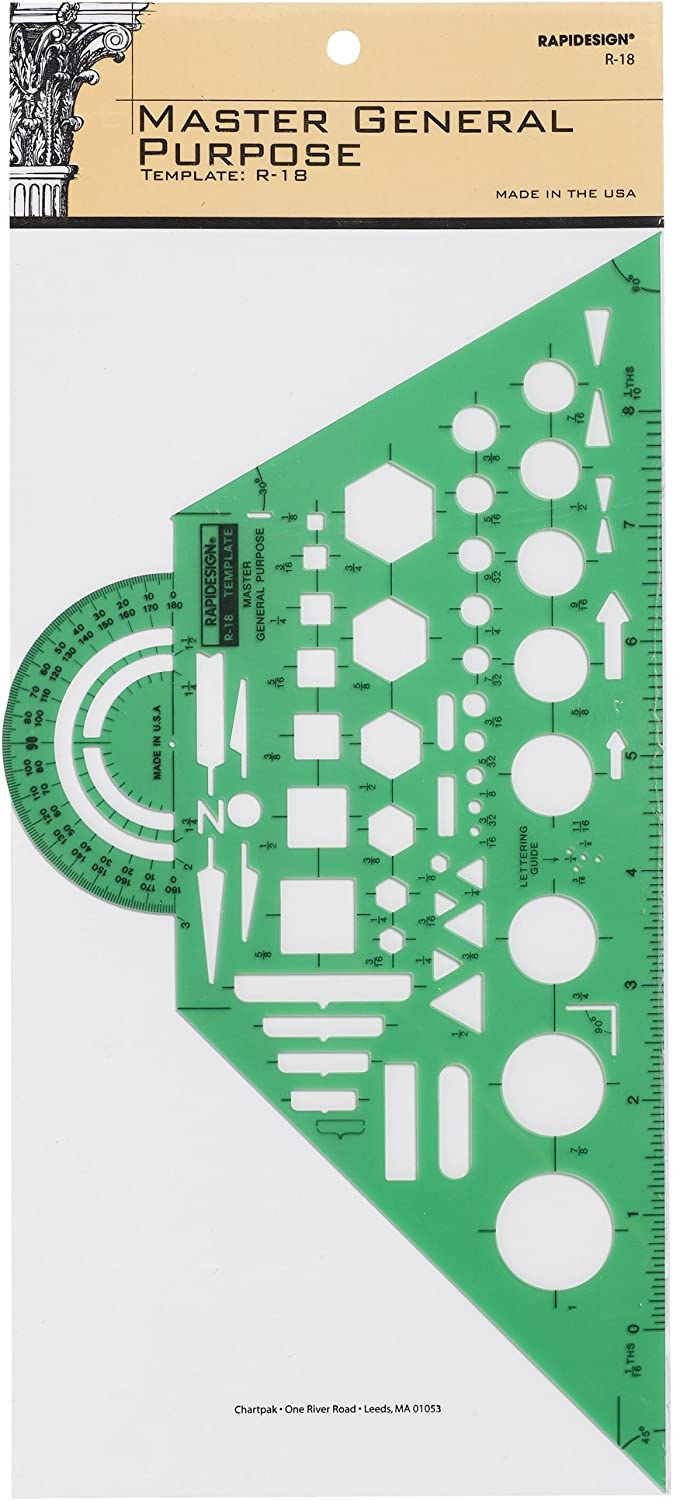 Rapidesign Master General Purpose Template, 1 Each (R18) : Paper Templates : Office Products