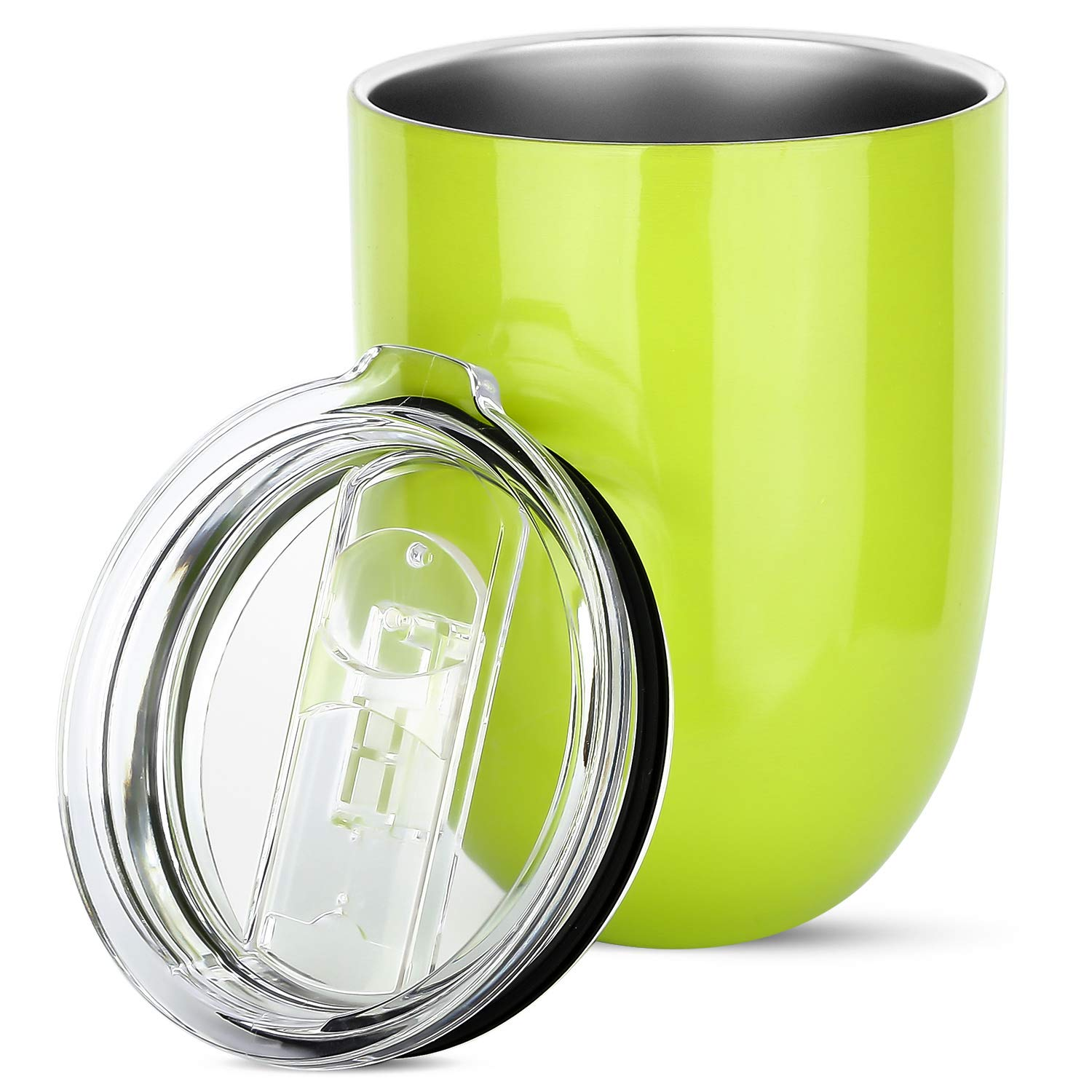 Insulated Wine Tumbler with Lid, Stainless Steel Insulated Stemless Glass Cup for Wine Water Coffee Drinks Champagne Cocktail at Home Party or Office, BPA Free