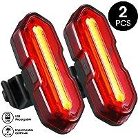 TOPELEK Luz LED Trasera Bicicleta Potente [2 Paquetes] Luz Trasera para Bicicleta Recargable USB con Impermeable de IPX…