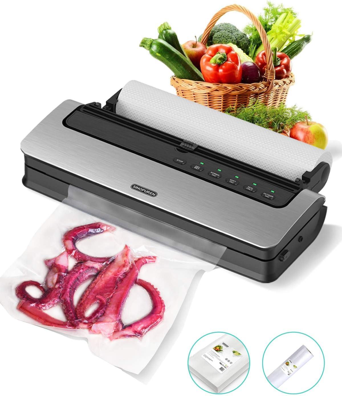 Vacuum Sealer Machine, Sinopuren V63PRO Automatic Vacuum Food Saver Machine Air Sealing System For Food Preservation with Built-in Cutter, Starter Kit Roll and Holder