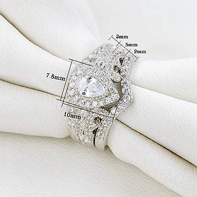 Wedding Engagement Ring 3pcs Set Round Pear White Cz 925 Sterling Silver Sz 5-12
