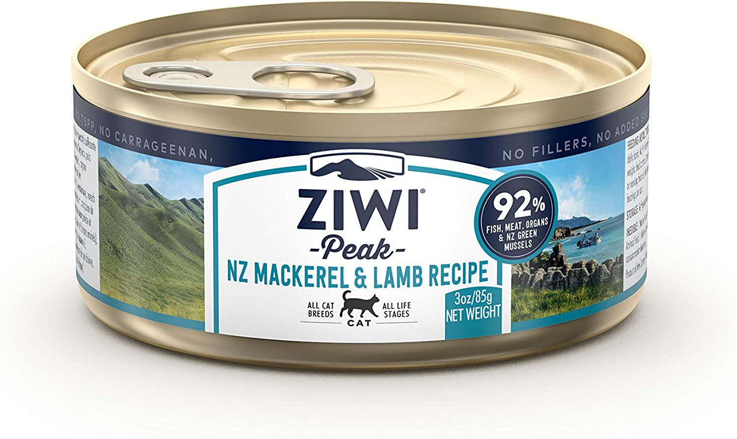 ZIWI Peak Canned Wet Cat Food – All Natural, High Protein, Grain Free, Limited Ingredient, with Superfoods (Mackerel & Lamb, Case of 24, 3oz Cans)