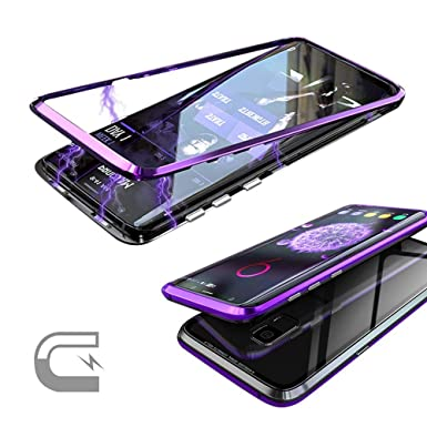 buy popular e26db 01359 QLTYPRI Samsung Galaxy S9 Case, Magnetic Adsorption Metal Case Aluminum 9H  Tempered Glass Back Cover [NO Front Tempered Glass][Support Wireless ...