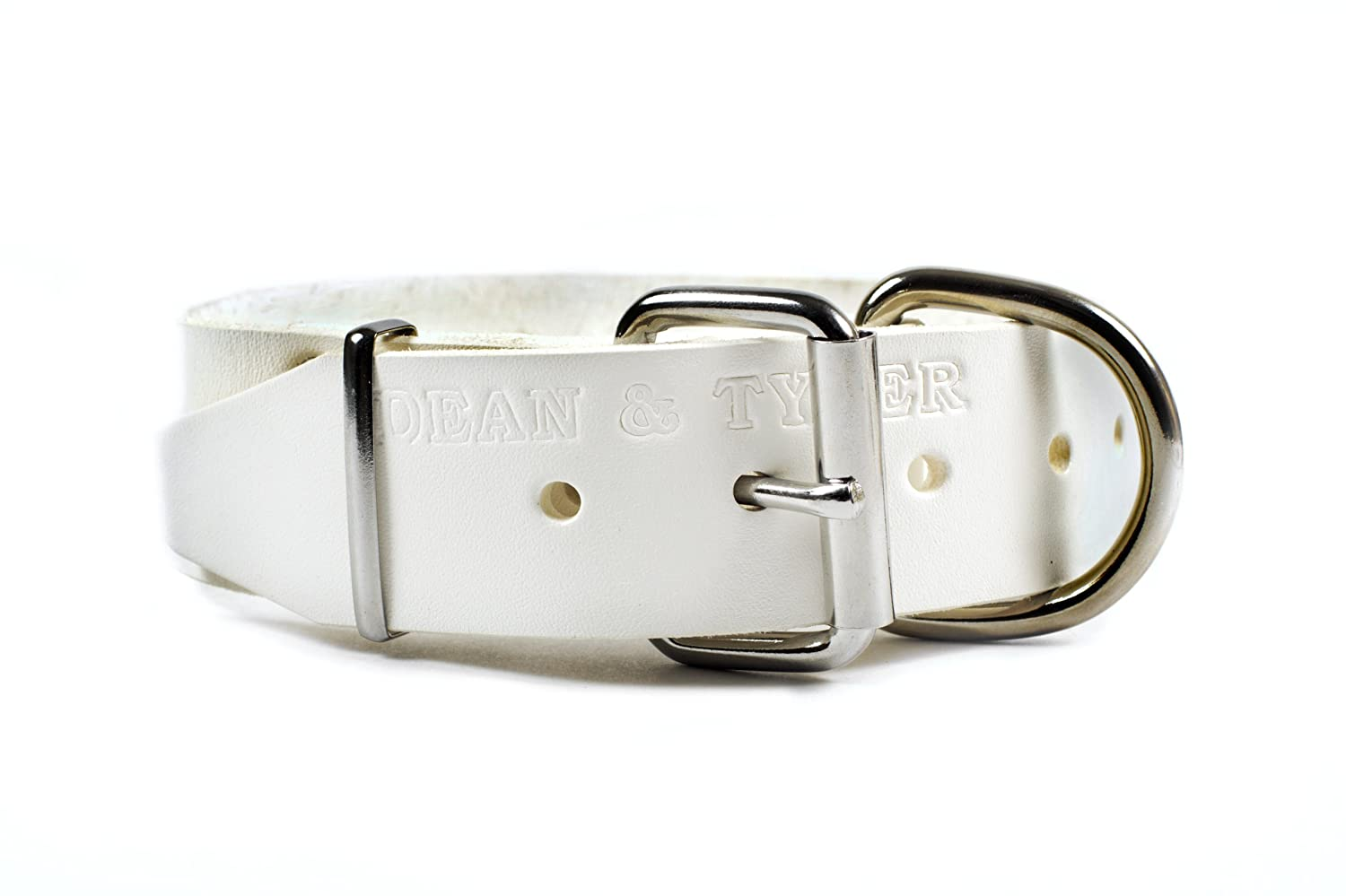 Dean & Tyler B and B Basic Leather Dog Collar with Strong Nickel Hardware, 28 by 1-1 2-Inch, Fits 26 to 30-Inch Neck, White