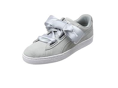 puma basket heart sneakers in gray velvet