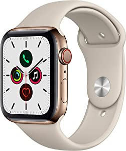 Apple Watch Series 5 (GPS + Cellular, 44mm) - Gold Stainless Steel Case with Stone Sport Band