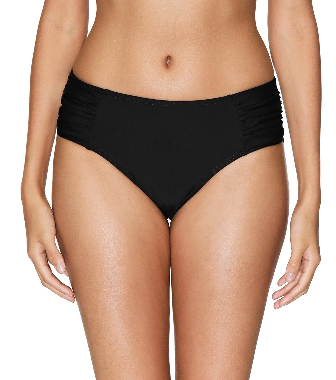 ALove Women's Ruching Bikini Bottom Mid Waist Swim Panty Board Shorts Black Medium