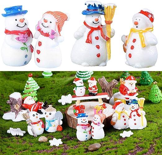 FLAMEER Figuras De Navidad De Resina En Miniatura - 6 Piezas Lindas Muñecos De Nieve, Accesorios De Navidad: Amazon.es: Jardín