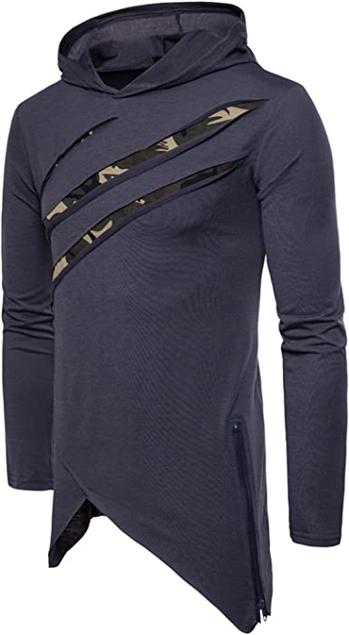 Katesid Mens Pullover Hooded Athletic Irregular Hem Slim Fitted Sweatshirt
