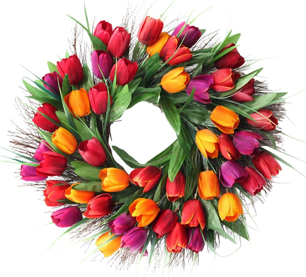 "SISJULY Tulip Flower Wreath Door Wreath 18"" Artificial Floral Wreath Spring Garland for Front Door Wall Window Wedding Party Office Home Décor (Red)"