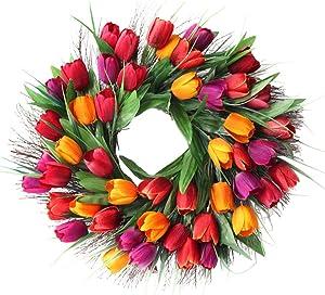"SISJULY Tulip Flower Wreath Door Wreath 18"" Artificial Floral Wreath Spring Garland for Front Door Wall Window Wedding Party Office Home Décor (Red)"
