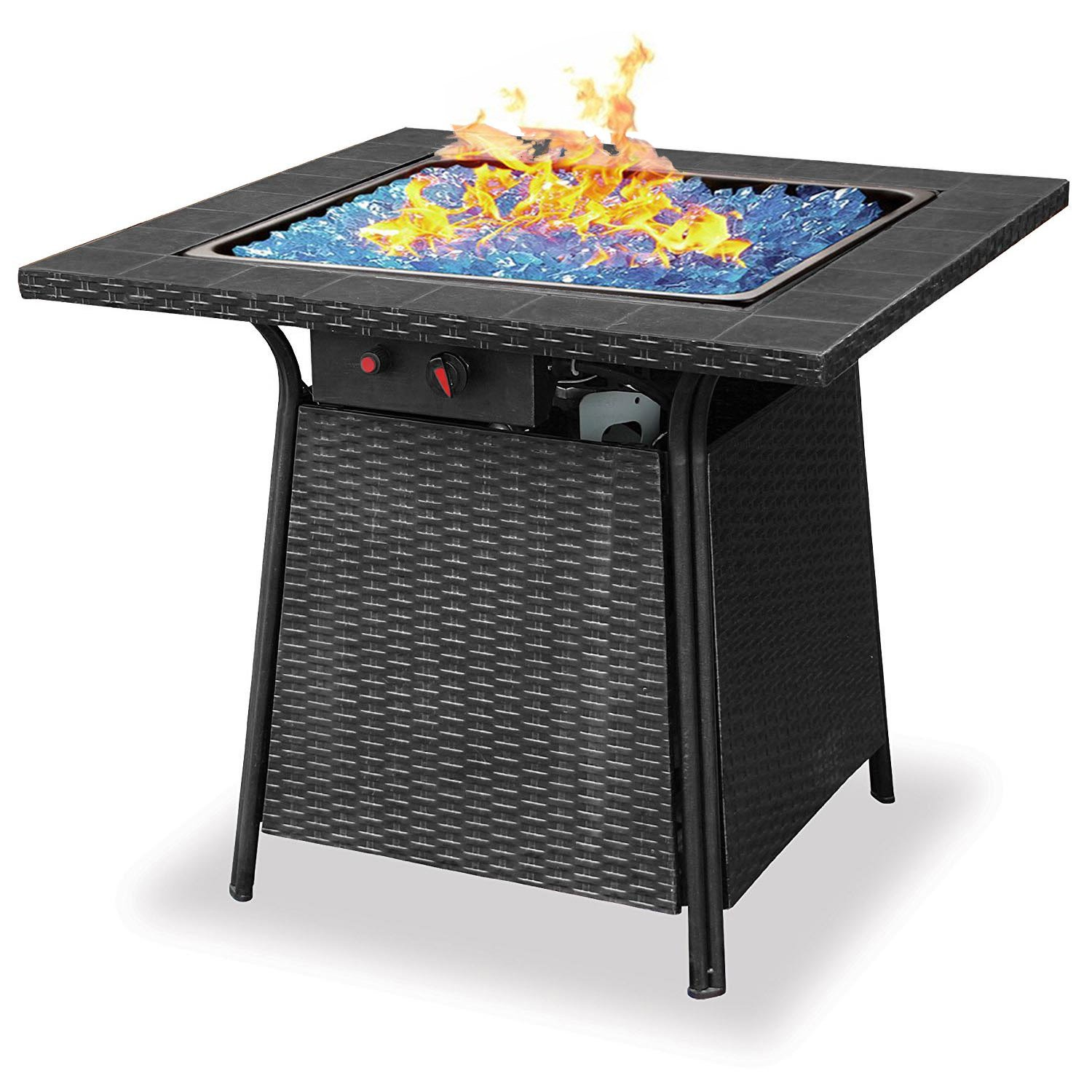 Blue Rhino Endless Summer Outdoor Patio Propane Gas Blue Glass Fire Pit by Uniflame