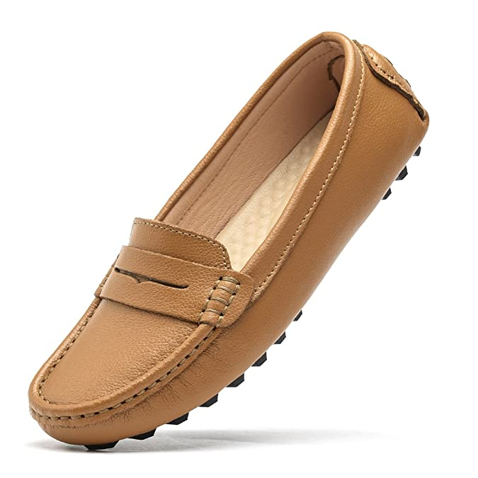 Amazon.com | Artisure Womens Girls Classic Handsewn Brown Genuine Leather Penny Loafers Driving Moccasins Casual Boat Shoes Slip On Fashion Office Comfort ...