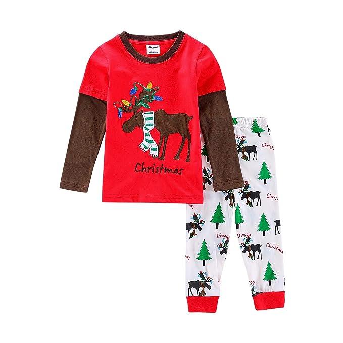 1ef6b4cb88 Navidad Pijamas Niños Ropa Navideñas Suéter Rayado Algodón Camisetas 2  Yánsè 2 5000 Colorear 1