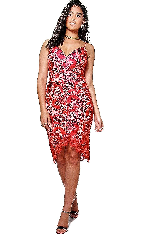 Red Womens Boutique Emi Strappy Eyelash Lace Midi Dress