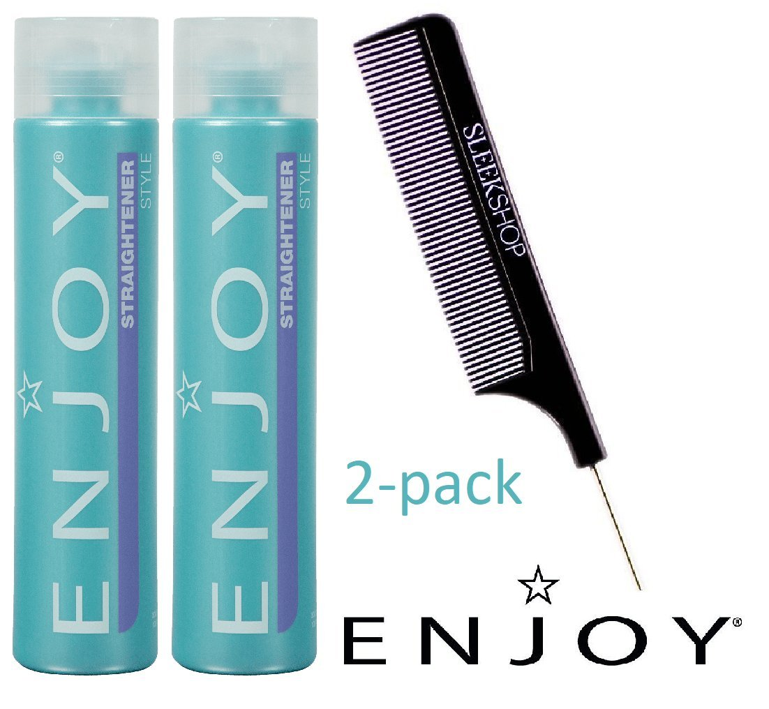 Enjoy STRAIGHTENER, Style - Straighten and Control Frizz, Coarse or Curly Hair (with Sleek Steel Pin Tail Comb) Straightening Gel (10 oz/300 ml (2-PACK))
