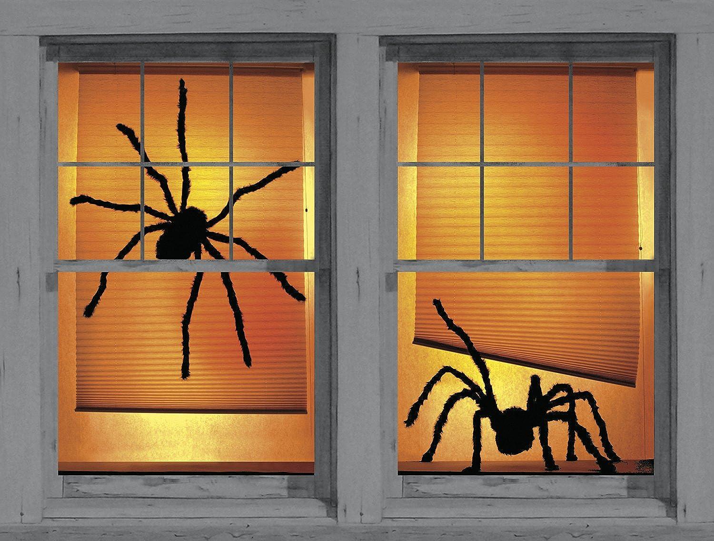 amazoncom wowindow posters shady spiders creepy halloween window decoration includes two 345x60 backlit plastic posters toys games - Halloween Window Decoration