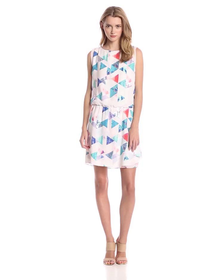 Sam Edelman Women's Geo Print Keyhole Back Dress with Ruffle, Multi, Medium